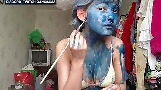 Perverted teen artist girl has fun online