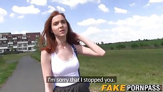 Horny and busty redhead takes it hard from behind outdoor