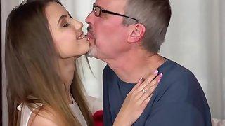 Teen slut Elle Rose gives grandpa Michael a good time