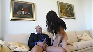 Teen brunette amateur babe Christine gets cum in mouth after sucking