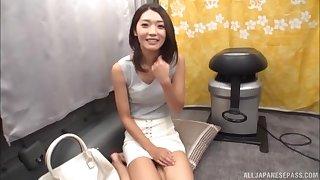 Slender Japanese amateur babe sucks a stranger's dick in a van