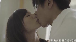 Skinny petite Japanese babe Suzumura Airi rides cock like a nympho