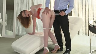 Nerdy blonde MILF Emma Fantasy opens wide for a huge cumshot