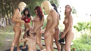 Adryella Vendramine and her shemale friends gang bang one guy