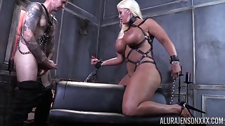 Kinky blonde MILF Alura Jenson fucked rough in high heels and leather