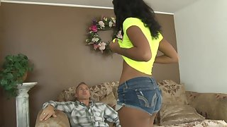 Gorgeous ebony teen babe Harley Dean fucks an older guy outdoors
