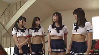 Japanese hardcore orgy with teen babes in uniform and one lucky cock