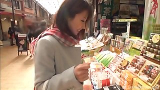 Japanese babe Ayami Shunka strips and sucks cock in public
