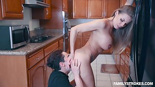 Britney Amber deep throats and fucks a huge cock for a cum shot