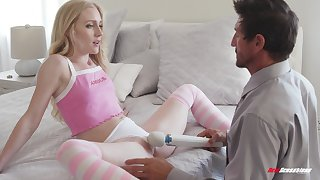 Blue eyed skinny blonde teen Emma Starletto sucks and rides a cock