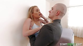 Hatless headed tall ladies' fucks petite pussy of thief mollycoddle Natalie Knight