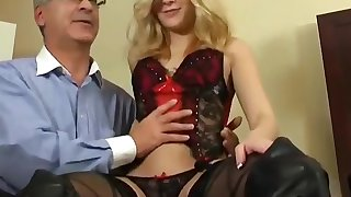 Cute Blonde Teen Drilled hard by Grey-haired Guy