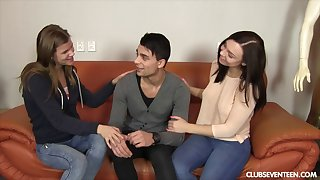 Lucky guy white-haired up and fucked two sluts at transmitted to same time. HD